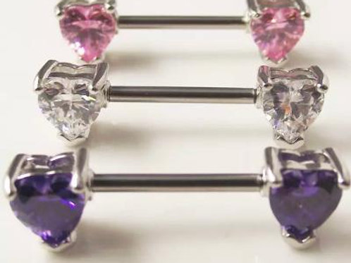 2 piece purple crystal Nipple piercing