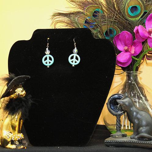 Turquoise Peace Sign Dangle Earrings