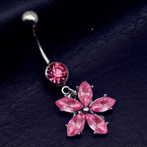 Beautiful Pink Flower Belly Button Ring