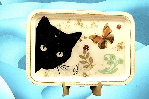 Black Cat & Butterfly Design Tray