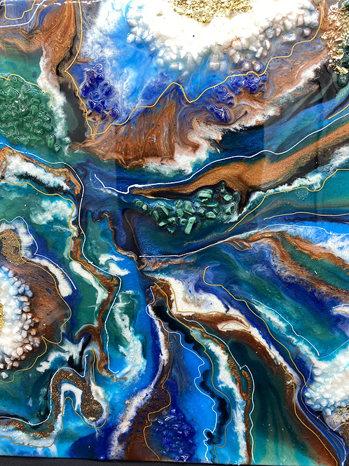 14 x 14 x 1  Geode Resin Painting w Crystals