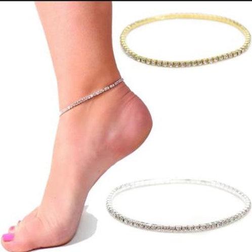 Crystal Stretch Anklet Gold Single