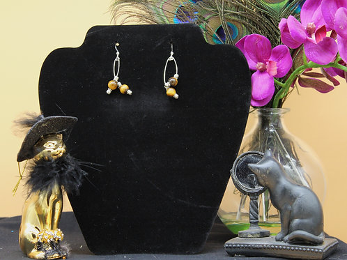 Tiger Eye stones on Silver Dangle