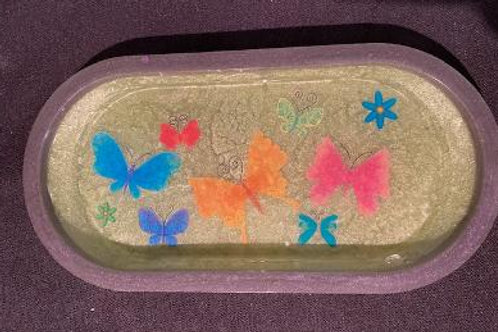 Small Tray Pale green & Lavender with Butterflies