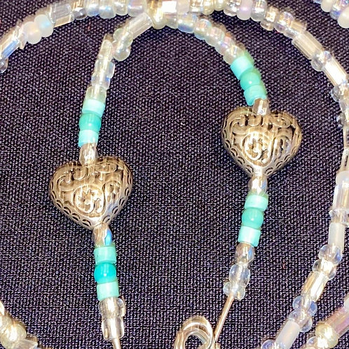 Mask Lanyard Clear Beads with Silver Heart and Real Turquoise Beads