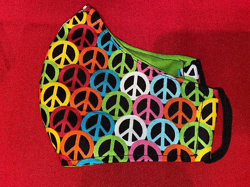 Peace mask with Lime green inside