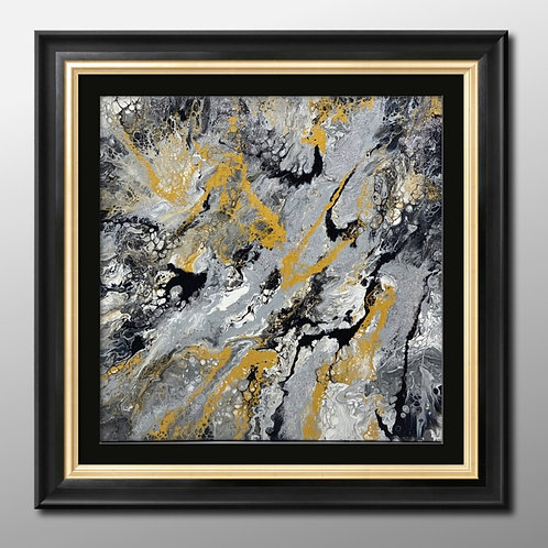 12 x 12 x 1   Acrylic Spin Paint  Black Gold and Silver
