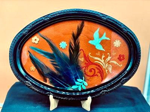Pheasant Feather & Bird Design Tray