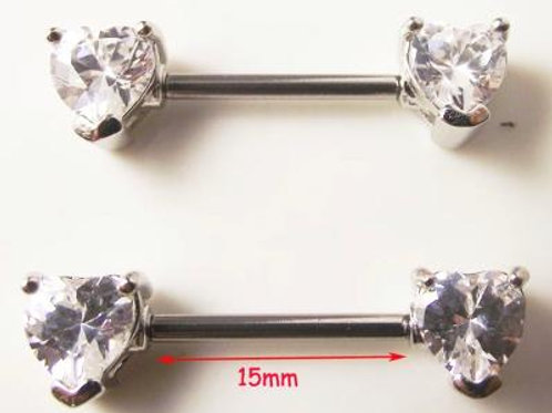 2 piece white crystal Nipple piercing