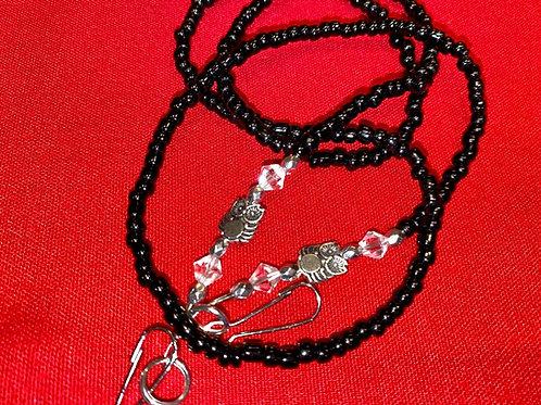 Mask Lanyard Black Beads w Silver Owl & Clear Swarovski Beads