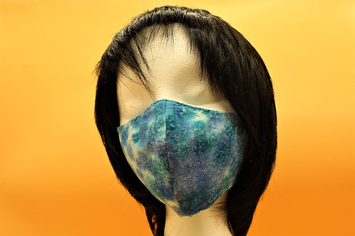 TURQUOISE AND PURPLE TIE DYE MASK