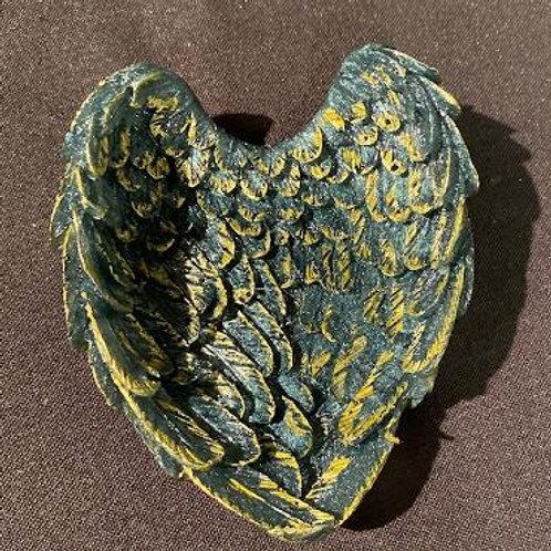 Angel Wing Heart Trinket Tray Slate Black Gold Trim