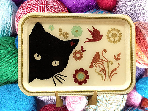 Black Cat with Red Bird Cat Design Tray