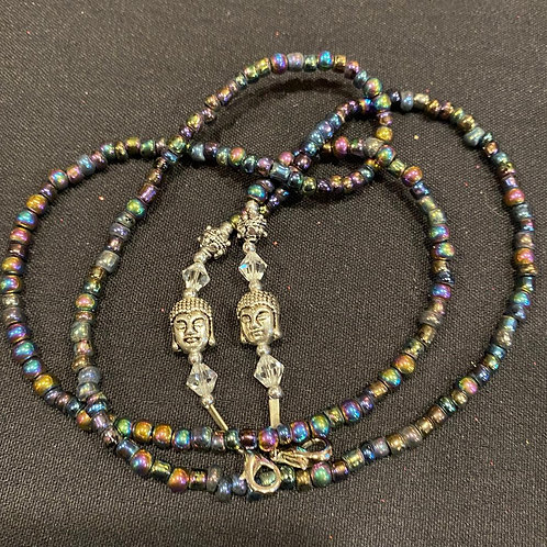 Mask Lanyard Iridescent Black Beads w Silver Tibetan Head and clear Crystal Bead