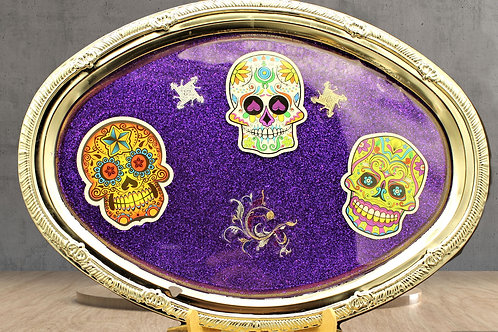 Day of the Dead Tobacco Tray Set Lighter Holder and Ashtray