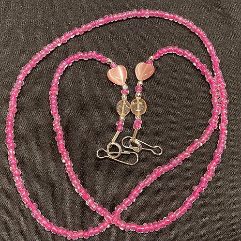 Mask Lanyard Pink Beads w Pink Tigers Eye Heart