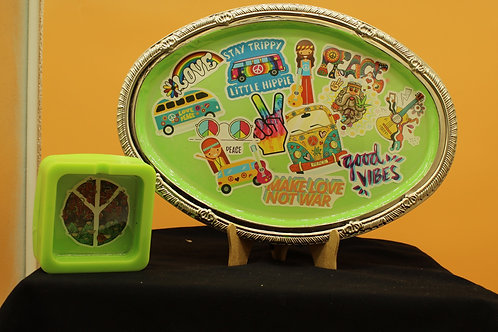 Happy Hippie with matching ashtray Glows in the dark