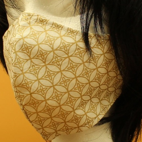 White w/ Gold shiny geometric Face Mask