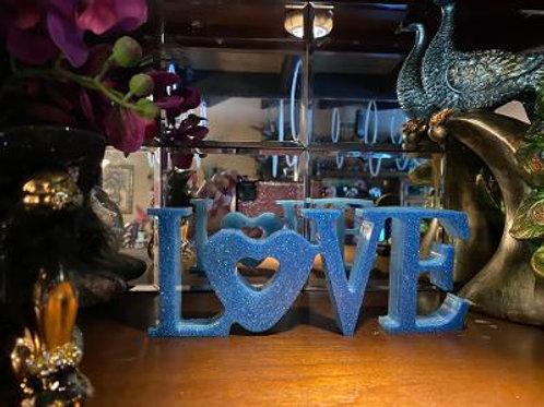 "3 x 8"" x 1""  Blue Glitter LOVE sign"