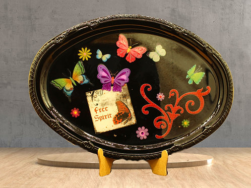 3 D Free Spirit Colorful Butterfly Design Tray