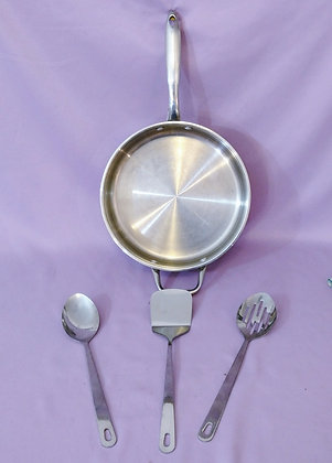 "Stainless Steel 11"" Sauce Pan & Untensils"