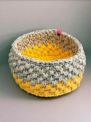 Yellow Floral Urchin Basket