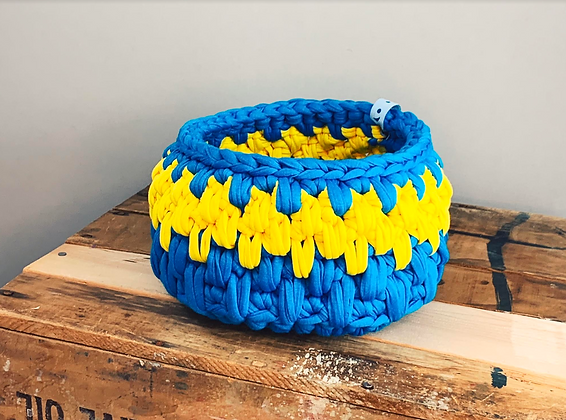 Blue/Yellow Stripe Urchin Basket