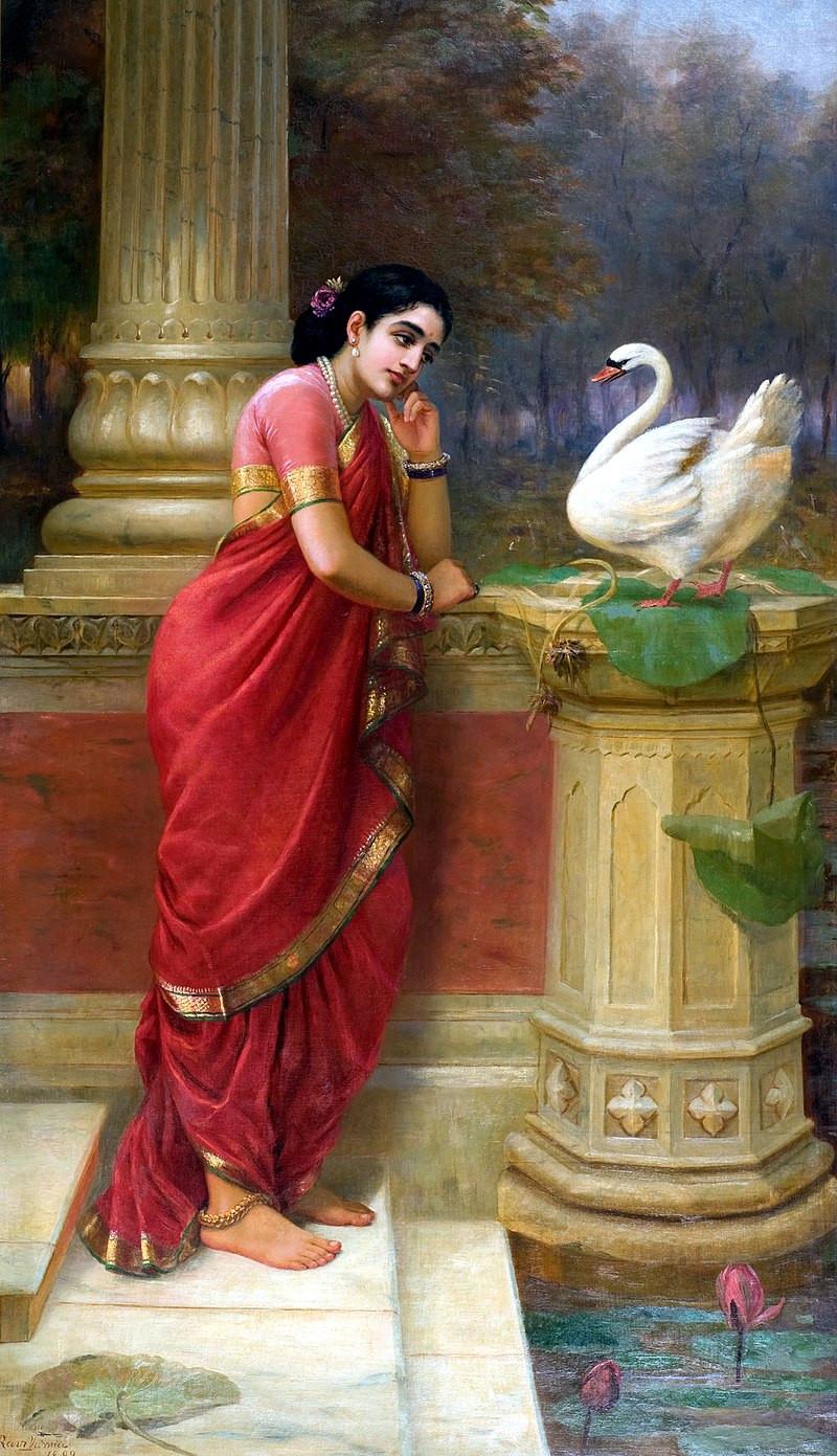 'Damayanti Talking With Royal Swan About Nala' by Raja Ravi Varma, 1899, Oil on Canvas