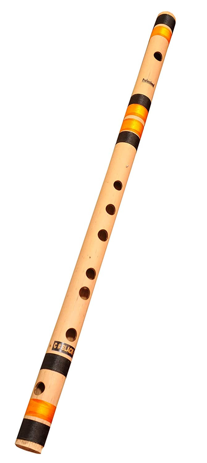 Amazon purchase link to the Foxit Professional Flutes C Sharp Medium Right Hand Bansuri Size 18.5 inches With Free Carry Cover