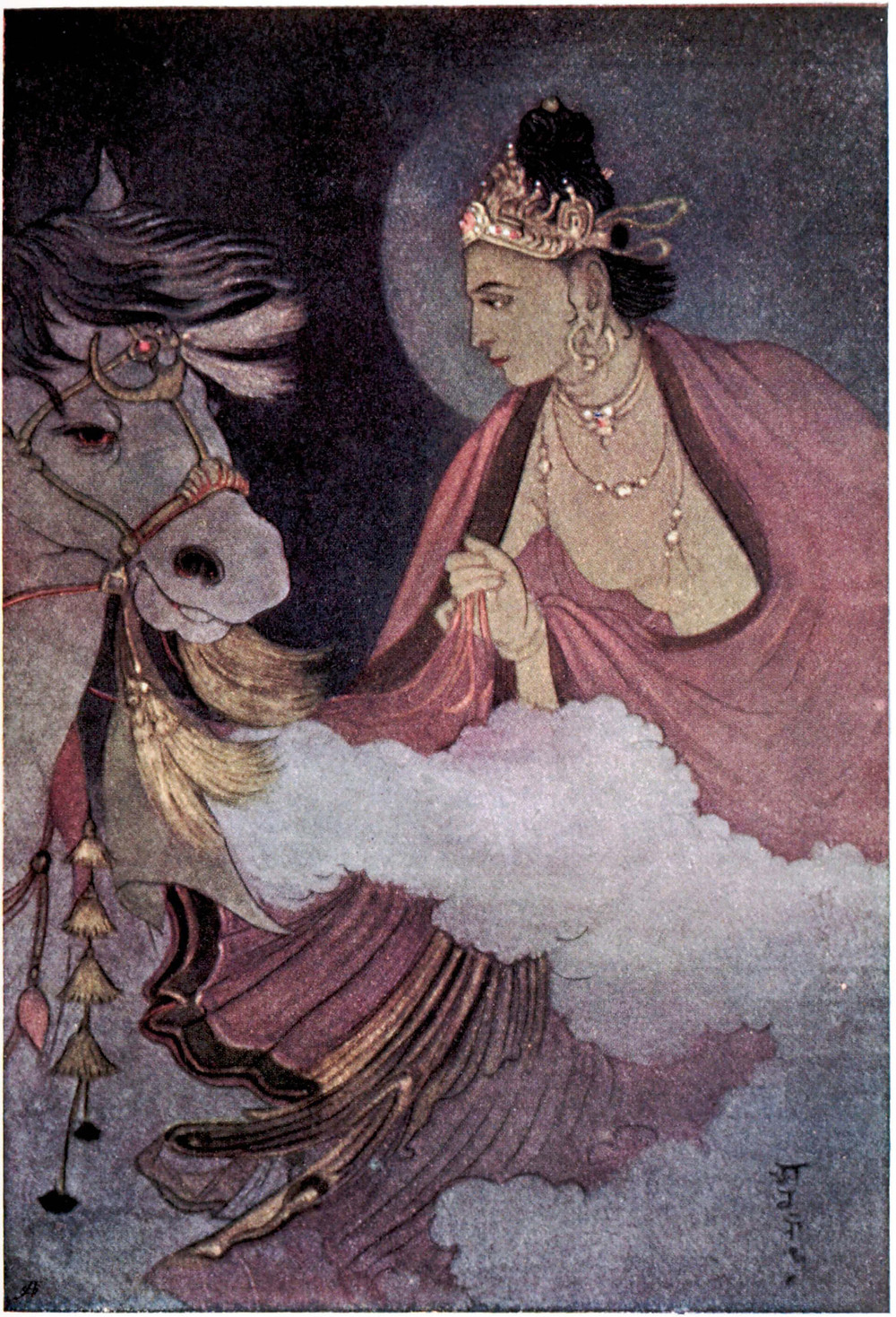 Abanindranath Tagore - Painting, 1914, 'Departure of Prince Siddhartha' - Bengal School of Art