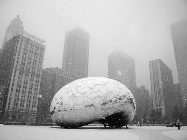 Anish Kapoor's 'Cloud Gate' in winter, The Point Magazine