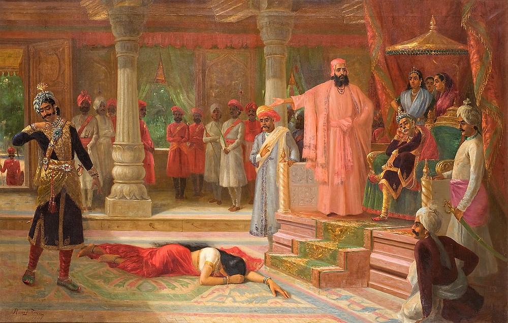 'Draupadi at the court of Virat', Raja Ravi Varma, 1897, Oil on Canvas