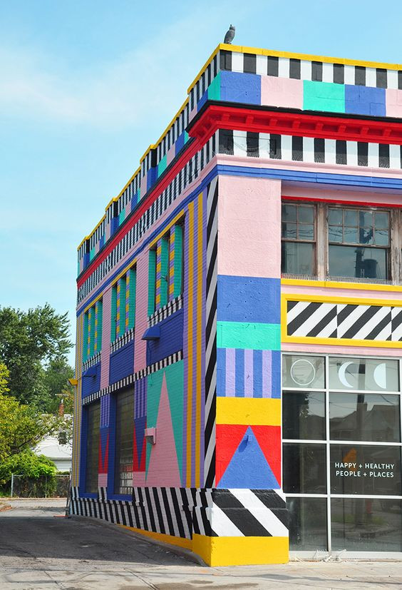 The Waterloo Arts District, Cleveland, Ohio, repainted by Camille Walala