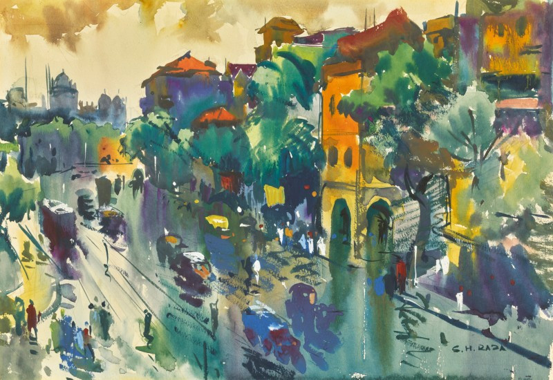 Sayed Haider Raza - Painting, Late 40s, 'Untitled View of Bombay' - Progressive Artists' Group