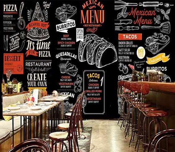 Wall mural depicting the menu of a Mexican restaurant