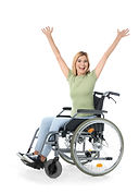 image of happy disabled woman in wheelchair excited by disability products and services