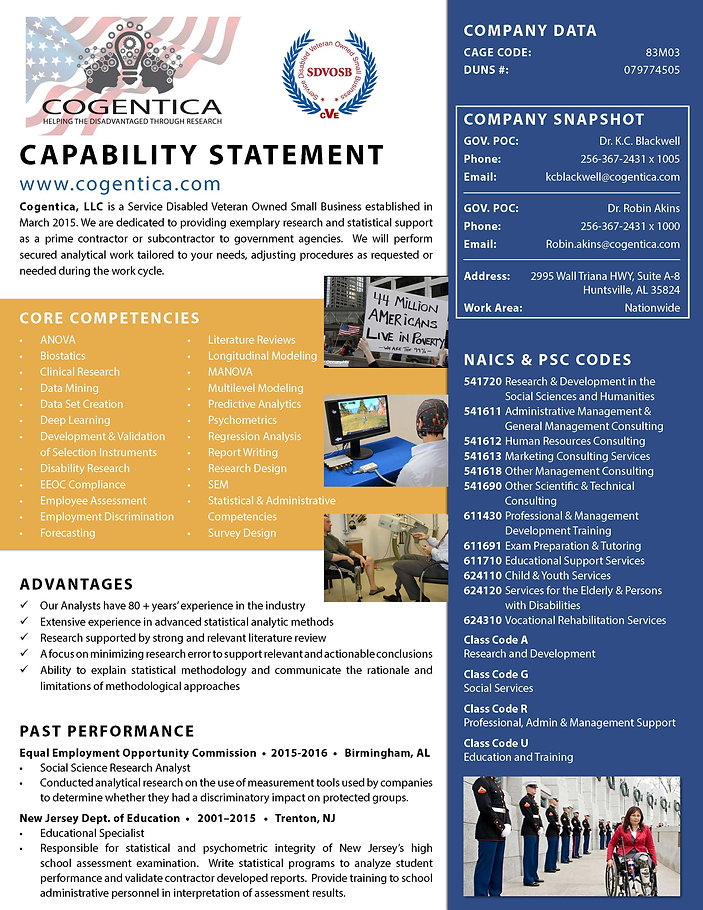 copy of capability statement that indicates the capabilities of Disability Researchers