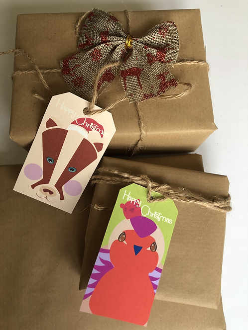 Illustrated Christmas Animals Face Tags