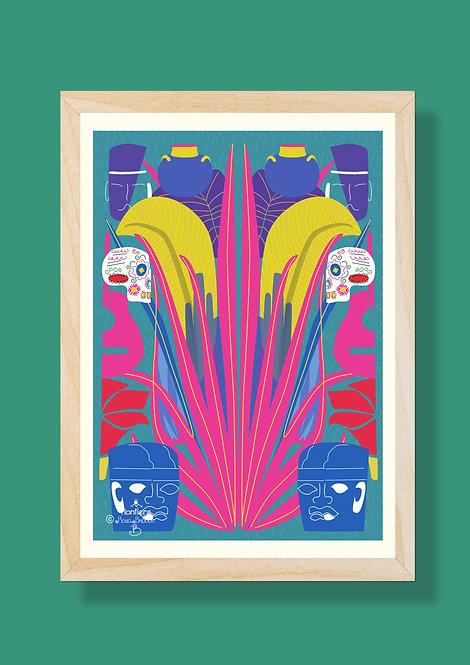 Olmeca-Pot-Skull  Illustrated Art Print