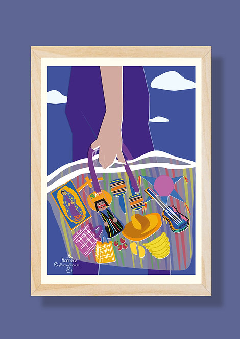 Market in Mexico Illustrated Art Print