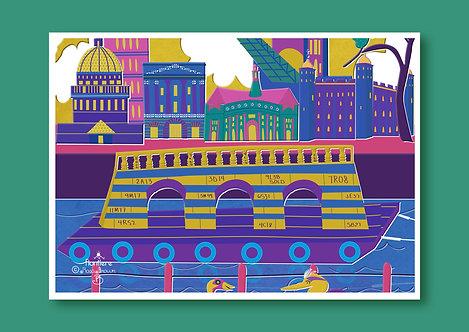 Good Bye London Bridge Illustrated Art Print