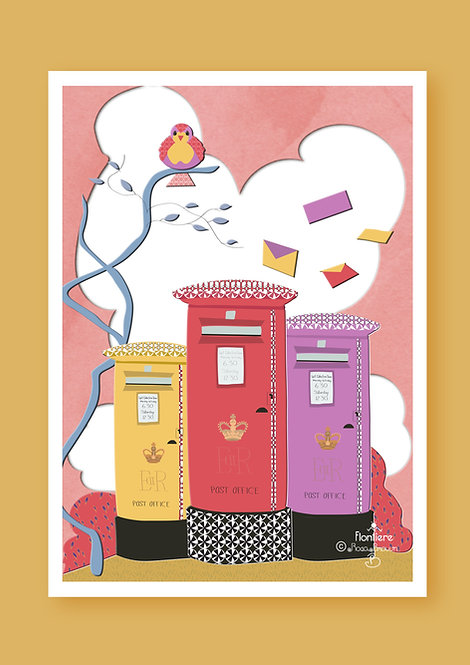 Post Boxes UK  Illustrated Art Print
