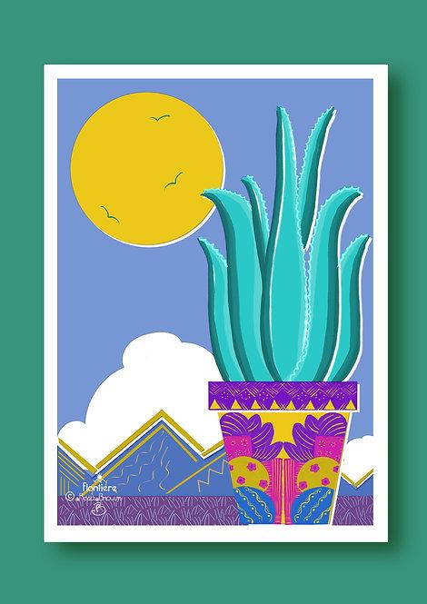 Aloe Vera in a Pot Illustrated Art Print