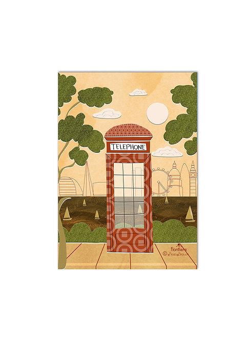 Telephone Box UK Illustrated Art Print