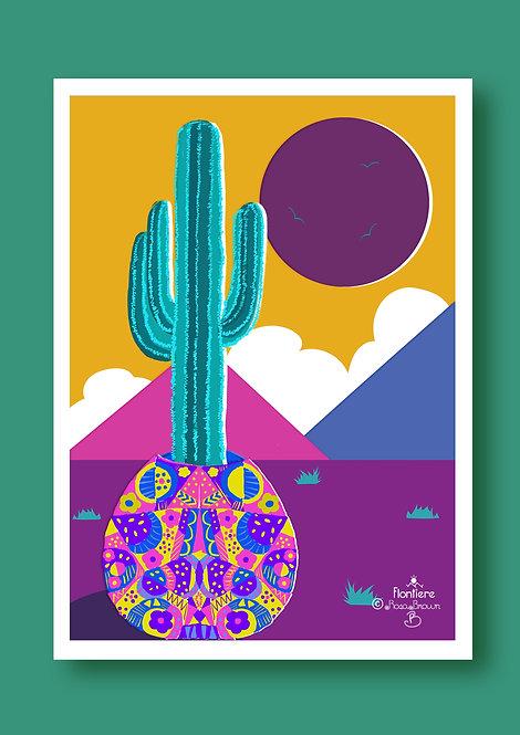 Cactus  in a Pot Illustrated Art Print