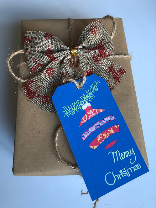 Illustrated Christmas Bauble Gift Tags Blue