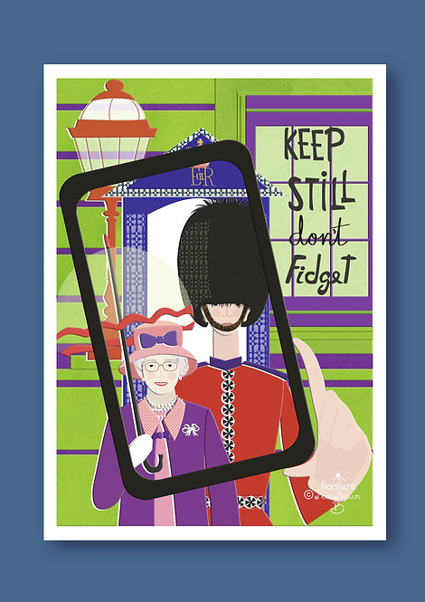 Selfie with The Queen (bold) Illustrated Art Print