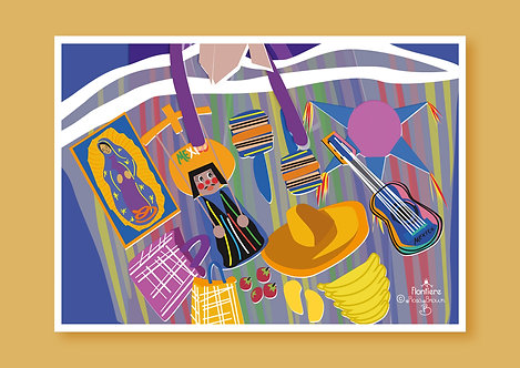 Market Bag in Mexico Illustrated Art Print