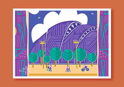 SEC The Armadillo in Glasgow Illustrated Art Print