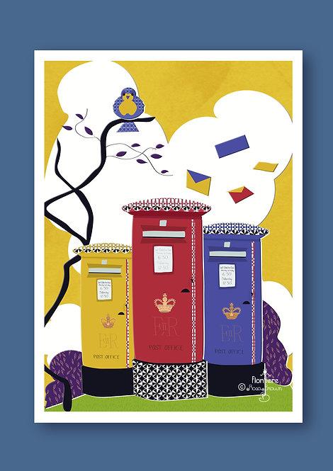 Post Boxes UK Bold Illustrated Art Print